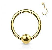 Piercing anneau boule avec charnière acier doré