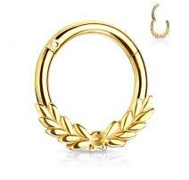 Piercing anneau feuilles de laurier avec charnière acier doré