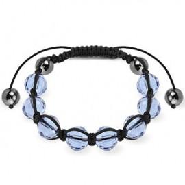 Bracelet Shamballa avec billes à facettes bleu clair