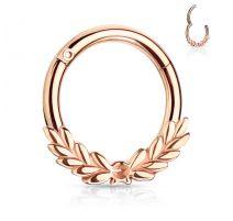 Piercing anneau feuilles de laurier avec charnière acier rosé