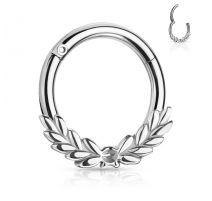 Piercing anneau feuilles de laurier avec charnière acier chirurgical