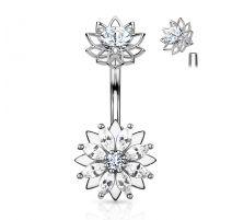 Piercing nombril fleur zirconium marquise acier chirurgical
