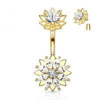 Piercing nombril fleur zirconium marquise plaqué or