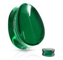 Piercing plug oreille verre larme vert