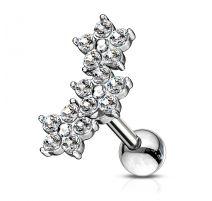 Piercing cartilage hélix triple fleur cristaux blancs