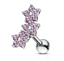 Piercing cartilage hélix triple fleur cristaux rose