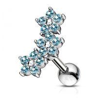 Piercing cartilage hélix triple fleur cristaux turquoise