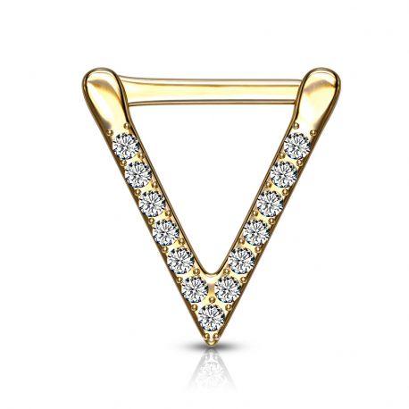 Piercing septum clipsable en acier doré triangle pavé de strass