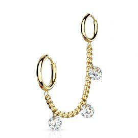 Double piercing oreille chaine strass anneaux doré