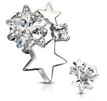 Piercing microdermal cluster étoiles strass blanc