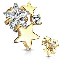Piercing microdermal plaqué or cluster étoiles strass blanc
