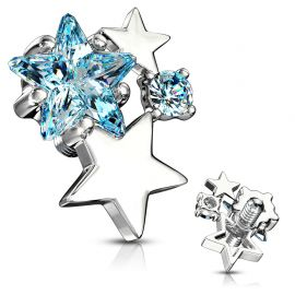 Piercing microdermal cluster étoiles strass turquoise