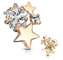 Piercing microdermal plaqué or rose cluster étoiles strass blanc