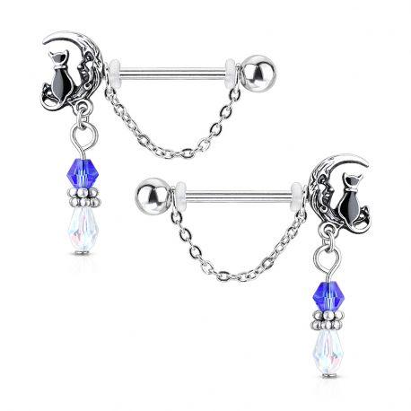 Paire de piercing téton acier avec chat sur lune