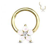 Piercing anneau acier doré fleur opalescente