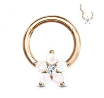Piercing anneau acier rosé fleur opalescente