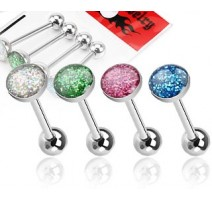 Lot de 4 Piercing langue dôme à paillettes