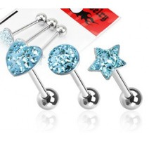 Lot de 3 Piercing langue Strass Turquoise