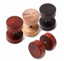 Piercing faux plug oreille acier et bois