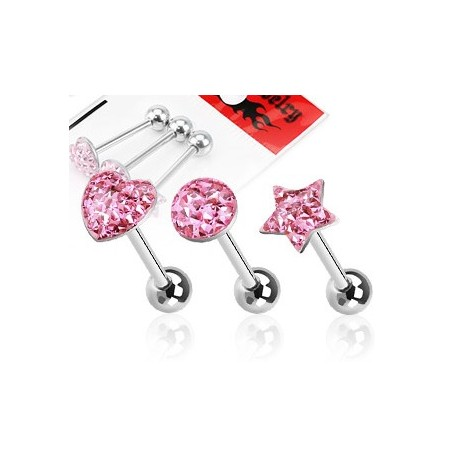 Lot de 3 Piercing langue Strass Rose