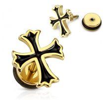 Piercing oreille faux plug doré croix noire