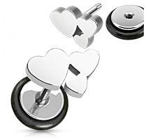 Piercing oreille faux plug cluster coeurs