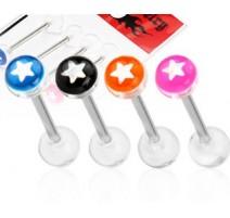 Lot de 4 Piercing langue Boule acrylique étoile