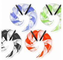 Piercing écarteur oreille spirale verre bicolore