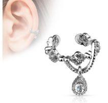 Faux piercing oreille chaine strass