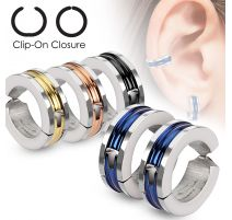 Fausses boucles d'oreilles centre coloré