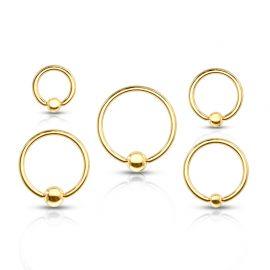 Piercing anneau boule Plaqué Or