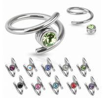 Piercing anneau spirale zircon