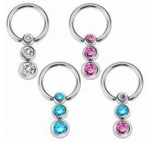 Piercing anneau captif triple gemmes