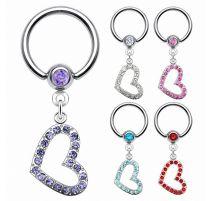 Piercing anneau captif coeur gemmes