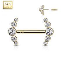 Piercing téton or jaune 14 carats incurvé zircon