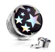 Piercing tunnel oreille étoiles holographiques