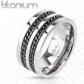 Bague Homme Titane Solide Double Chaine