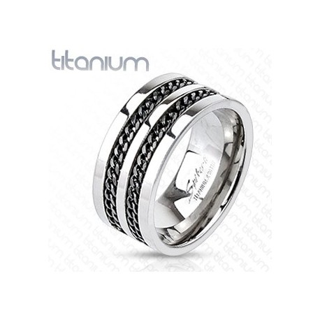 Achat Bague Homme Titane Solide Double Chaine