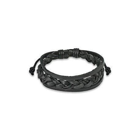 Bracelet Homme en Cuir noir Tressé