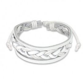 Bracelet Homme en Cuir blanc Tressé