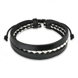 Bracelet Homme en Cuir noir Centre Tressé