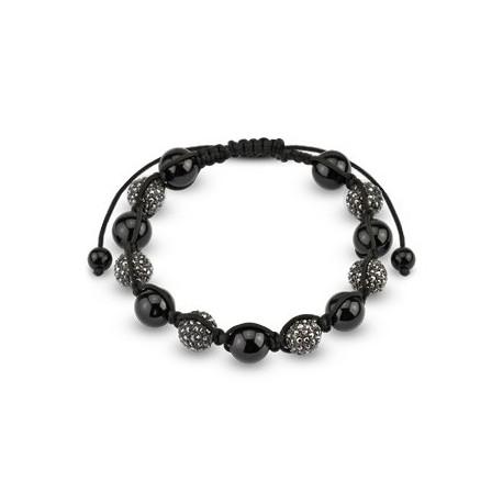 Bracelet Shamballa avec billes et Cristal métalliques Noir