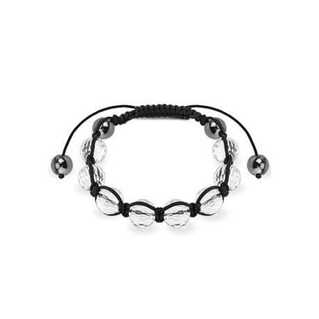 Bracelet Shamballa avec billes à facettes transparent
