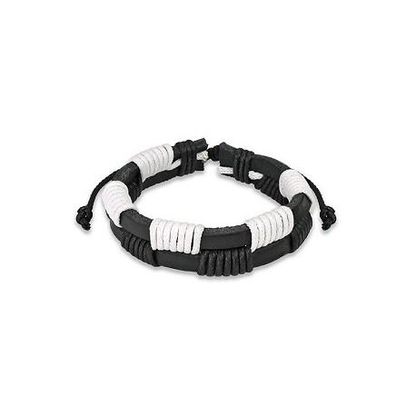 Bracelet Homme en Cuir noir et blanc Zig-Zag