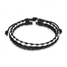 Bracelet Homme en Cuir noir et blanc Tressé