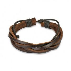Bracelet Homme en Cuir Marron 5 Brins