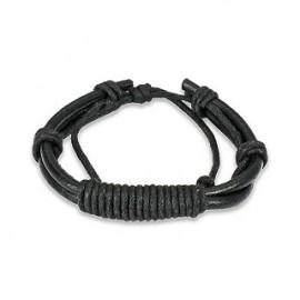Bracelet Homme en Cuir Noir Noeud