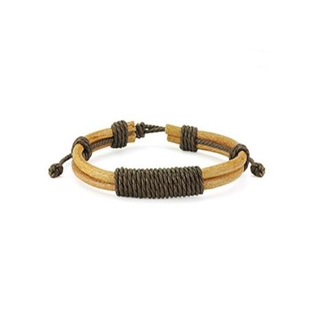 Bracelet Homme en Cuir Marron Noeud