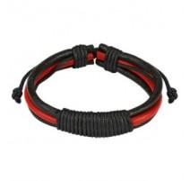 Bracelet Homme en Cuir Noir et Rouge Noeud