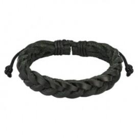 Bracelet Homme en Cuir Noir Brins Tressés Croisés